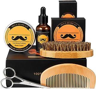 Beard Kit for Men Gifts, Beard Care & Grooming Kit Natural Organic Beard Oil, Beard Balm, Beard Comb, Beard Brush, Beard S...