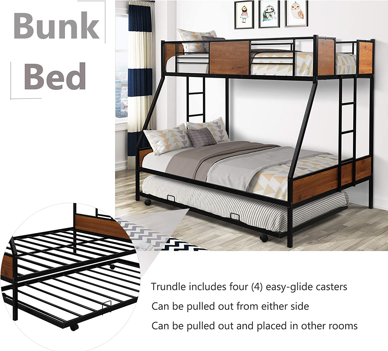 Buy Metal Bunk Bed Twin Over Full Bunk Bed With Trundle Heavy Duty Metal Bunk Bed Frame With Safety Rail And Two Side Ladders For Kids Teens Adults Black Online In Indonesia B08jtk2rf5
