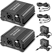 Neewer® 2 Pack 1- Channel 48V Phantom Power Supply Black with Adapter and XLR Audio Cable for Any Condenser Microphone Music Recording Equipment