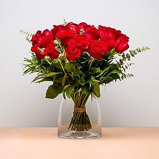 Ramo de 24 Rosas - Envío de Ramos de Flores Naturales a Domicilio 24h Gratis - Flores Frescas - Tarjeta dedicatoria inclui...
