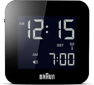 Braun Unisex-Adult Digital Radio Controlled Travel Alarm Clock with LCD Dial Display, BNC008BK-RC