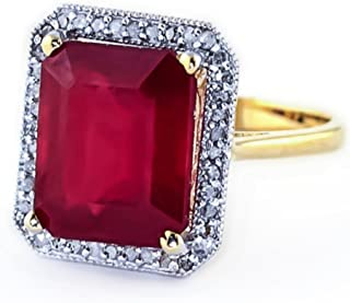 4.7 Carat 14K Solid White Rose Yellow Gold Emerald Cut Octagon Shape Ruby Halo Design with Natural Diamond Ring - Anniversary, Promise, Engagement Ring, Sizeable for her.