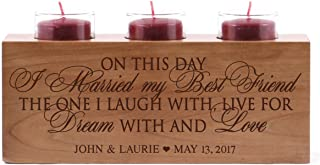 LifeSong Milestones Personalized On This Day Wedding Anniversary Candle Holder for him her Custom Engraved Cherry Wood Engagement Ideas for Boyfriend or Girlfriend One 10