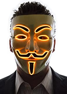 Light Up V for Vendetta Anonymous LED mask, Guy Fawkes Mask, One Size