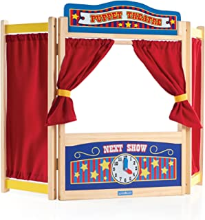 Guidecraft Wooden Tabletop Puppet Theater For Kids - Toddler's Foldable Dramatic Play Imaginative Theater W/ Chalkboard, Curtains and Clock