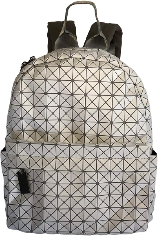 Women Backpack Fashion Geometric Bao Backpacks Female Student Geometry Travel Backpack (white/grey)
