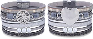 LOLIAS 2 Pack Womens Leather Cuff Bracelet Wrap Bracelets Bangle Handmade Wristbands Jewelry Bohemian Gift for Women