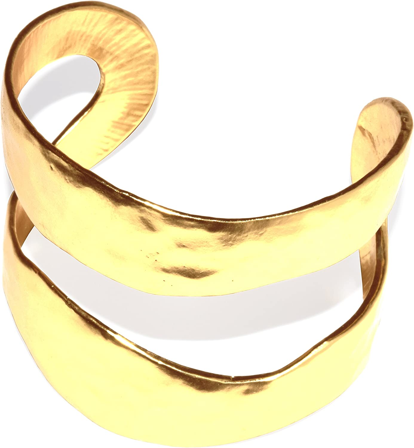 KARINE SULTAN Gold Cuff Bracelet | Wide, Textured, Smooth Open Design and Classy, Stylish Celebrity Look | 24kt Gold Plated Adjustable Cuff Bracelet
