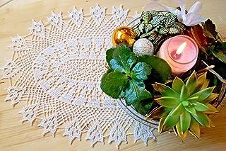 Centro centrotavola ovale pizzo ad uncinetto misura 50 x 35 cm fatto a mano di cottone bianco nuovo idea regalo nozze pasq...