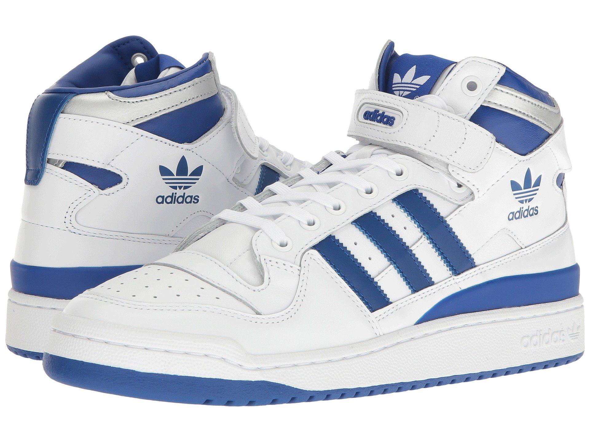 Adidas Originals Forum Mid blanco / Collegiate Royal refinado, Calzado