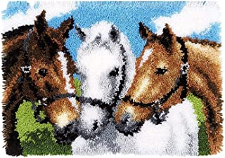 Lanrui Kits de Tapis à Crochet de loquet DIY Crochet Fil Kits Vivid Horse Motif imprimé Toile de Broderie imprimée Tapis p...