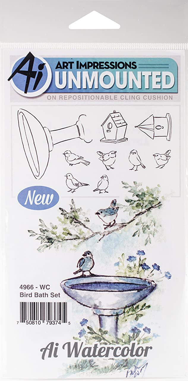 Art Impressions WC4966 Watercolor Cling Rubber Stamps, Bird Bath