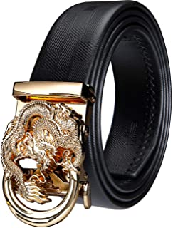 Barry.Wang Mens Ratchet Belt,Genuine Leather Belt with Automatic Buckle Fashion Gift Set for Men