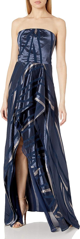HALSTON Women's Strapless Burnout Gown