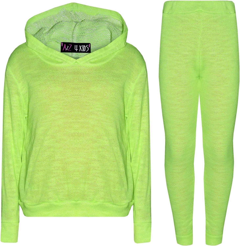 Kids Girls Tracksuit Plain Neon Green Hooded Top Fashion Legging Set Lounge Suit