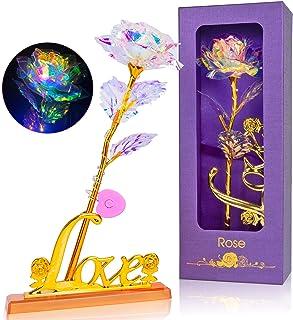 Rose Plaqué Or 24K Rose Galaxy, Rose Eternelle Romantique, Rose Dorée Rouge, Fleur Eternelle avec Support, pour Saint Vale...