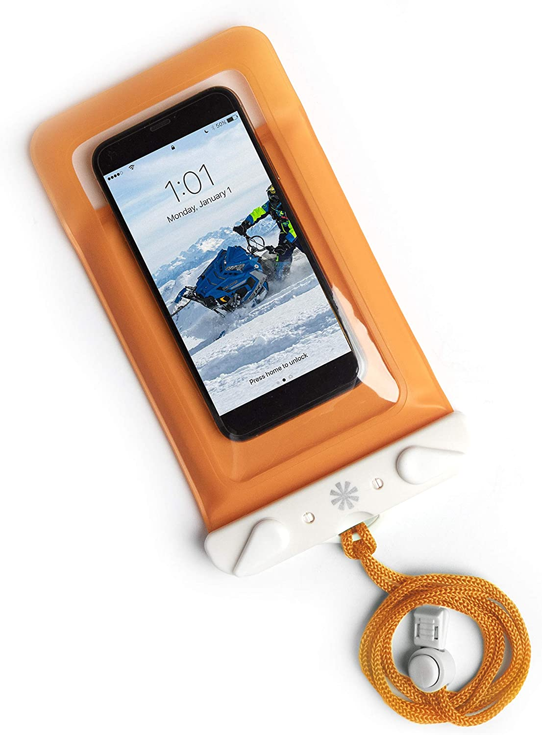 Tech Candy Dry Spell Water Defender Bag for iPhone & Android Floats Adjustable Lanyard Protection Text Thru Window Waterproof Snowproof Universal Pouch Beach Lake Ocean Pool2019 Edition (Orange)