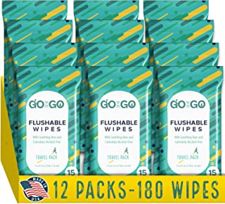 GO ON THE GO Flushable Wet Wipes for Travel by Go on the Go - Biodegradable, Alcohol-Free, with Soothing Aloe and Calendul...