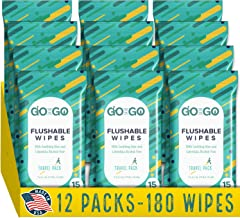 Flushable Wet Wipes for Travel by Go on The Go - Biodegradable, Alcohol-Free, with Soothing Aloe and Calendula, 12 Packs of 15 Count Each (180 Wipes Total) - Made in The USA