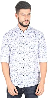 Twills Slimfit Printed Casual Cotton Shirt for Men White