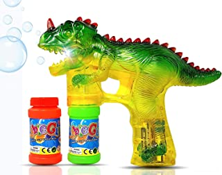 Haktoys Jurassic Dinosaur Bubble Gun Shooter Light Up Blower | Toy Bubble Blaster for..