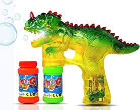 Haktoys Jurassic Dinosaur Bubble Gun Shooter Light Up Blower | Toy Bubble Blaster for..