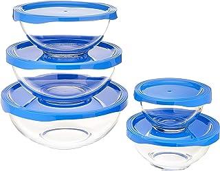 Amazon Basics 10-Piece Glass Mixing Bowl Set, 5 Bowls and 5 BPA-Free Lids