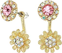 Blue by Betsey Johnson Pink and Gold Tone Front Back Flower Earrings