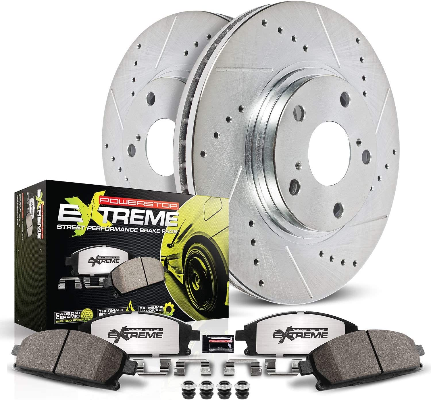 Power Stop K2302-26 Online limited product Max 69% OFF Front Z26 Carbon with Brake Fiber Pads Drill