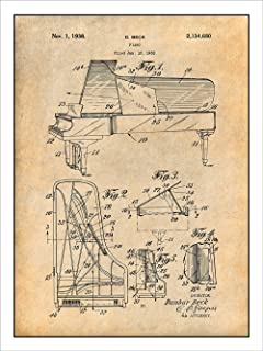 1938 Beck Steinway Grand Piano Patent Print Art Poster UNFRAMED Parchment 18