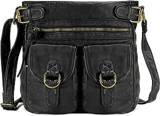 Medium Crossbody Shoulder Bag for Women, Ultra Soft Washed Vegan Leather, H1998