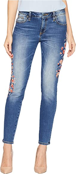 Embroidered Mid-Rise Skinny Jeans in Medium Blue