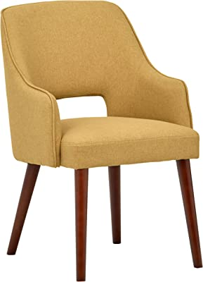 "Amazon Brand – Rivet Malida Mid-Century Modern Open Back Kitchen Dining Room Accent Chair, 33""H, Canary"