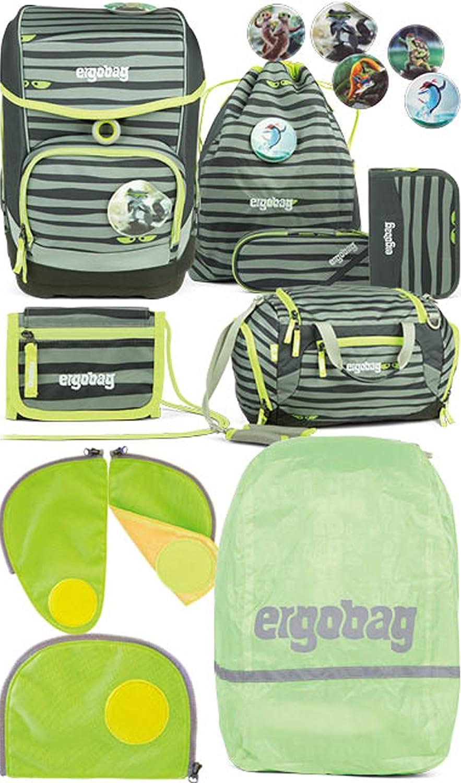 Ergobag Cubo Super NinBr Schulrucksack-Set 5tlg + Sporttasche + Geldbeutel + Regencape + Sicherheitsset