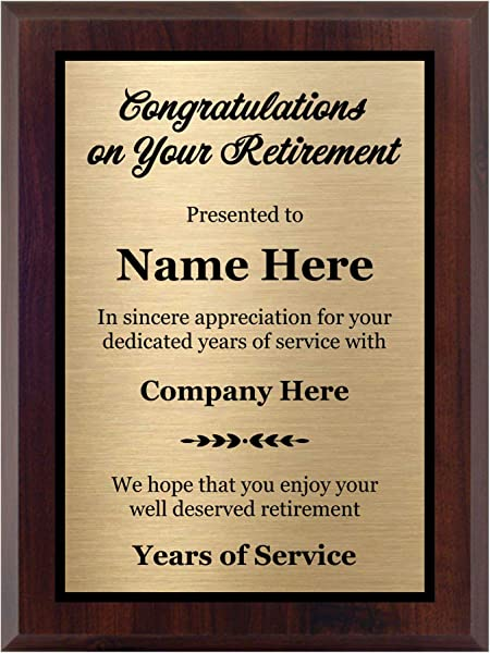 Customized Retirement Plaque 8x10 Personalized Gift For Co Worker Award For Women And Men Customize Now