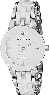 Anne Klein Silvertone and White Ceramic Bracelet Watch