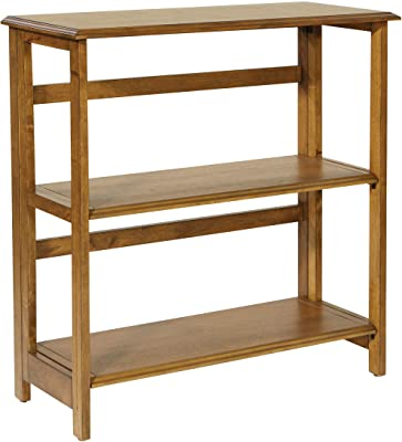 OSP Home Furnishings Bandon 3-Shelf Bookcase, Ginger Brown