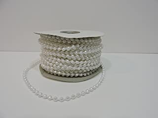 24 yards, 4mm Faux Pearl Plastic Beads on a String Craft Roll (Choose from 4 colors) (White)