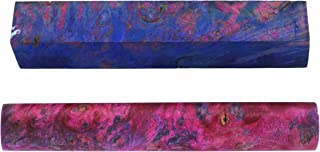 Maple Burl Stabilized Double Dyed Pen Blank Pink/Blue 1-Piece