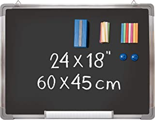 "Chalkboard Set - Framed Black Board 24 x 18 inch + 1 Magnetic Eraser, 14 Chalk Sticks (7 Colors) and 2 Magnets - Small Wall Hanging Blackboard with Frame for Home, Kitchen and Kids (24x18"")"