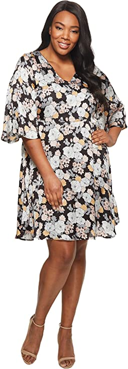 B Collection by Bobeau - Plus Size Florice V-Neck Flare Dress