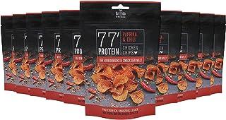 Grillido Protein Chips | 77% Eiweiß Nur 9% Fett | Der Eiweißreichste Snack der Welt Paprika & Chili, 10 x 25 g