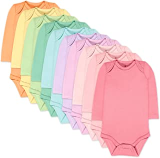HonestBaby Baby 10-Pack Organic Cotton Long Sleeve Bodysuits, Rainbow Girl, 24 Months