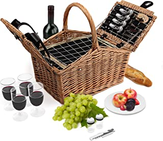Wicker Picnic Basket | 4 Person Deluxe Double Lid Style Woven Willow Picnic Hamper | Built-in Cooler | Ceramic Plates, Stainless Steel Silverware, Wine Glasses, S/P Shakers, Bottle Opener (Natural)