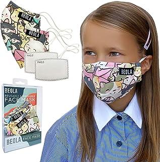 BEOLA Washable Face Kids Mask Non Medical Reusable Cotton With Filter For Children Bella Boys Girls (Estella No Valve 2pcs)