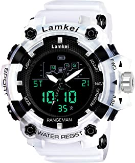 Lamkei Sports LM-21 Black Dial White Transparent Silicone Strap Analogue Digital Multi Function Watch for Men