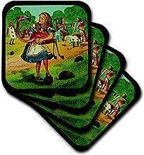 3dRose LLC cst_27556_2 Alice in Wonderland Golfing Soft Coasters, Set of 8
