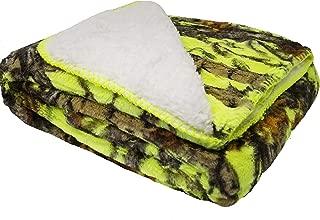 Duke Imports Regal Comfort Sherpa Luxury Throw Blanket, Woods Camo, Lime