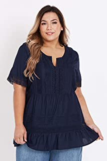 Beme Short Sleeve Lace Panelled Top - Womens Plus Size Curvy