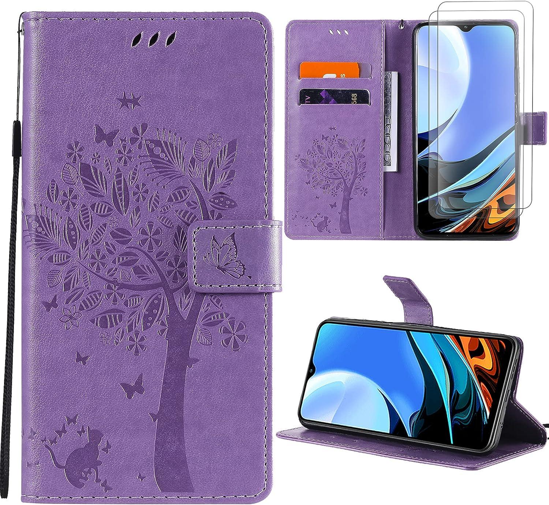 Oududianzi - Funda para Xiaomi Redmi 9T + [2X Protectore Pantalla] Flip PU Cuero Billetera Carcasa [Cierre magnético] [Ranuras para Tarjetas] [Función de Soporte] - Púrpura